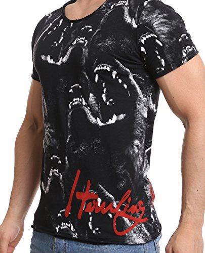 Herren T-Shirt Red Bridge Howling Wolf Kurzarm Slim Fit Tiermotiv Baumwolle Schwarz Black
