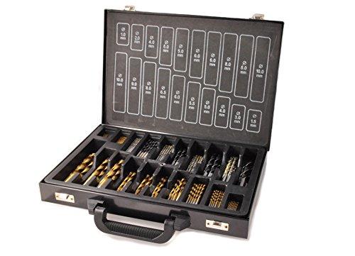 108-tlg. KOMBI Bohrer Satz, HSS-TIN Spiralbohrer, HM Steinbohrer, CV Holzbohrer, 1,0 mm - 10,0 mm