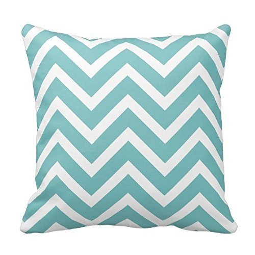Aqua Blue and White Pattern Design Throw Pillow Cover Case Home Decorative Square 18 x 18 Inch Two Sides Pattern Design Case