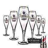 6 x Radeberger Glas Gläser 0,3l Pokal Bier Gastro Bar Deko NEU + anygoods Flaschenausgiesser