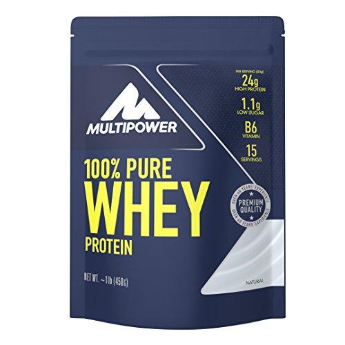 Aminosäuren-rezeptur (Multipower 100% Pure Whey Protein, lösliches Whey Proteinpulver ohne Aspartam und Gluten, enthält essentielle Aminosäuren (BCAA), Eiweißpulver zum Backen und Kochen, Neutral, 450 g)