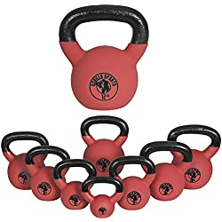Gorilla Sports Kettlebell Red Rubber, in Ghisa, Rivestimento in Neoprene, Colore Rosso. Pezzo 8 kg