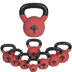 Idea Regalo - Gorilla Sports Kettlebell Red Rubber, in Ghisa, Rivestimento in Neoprene, Colore Rosso. Pezzo 8 kg