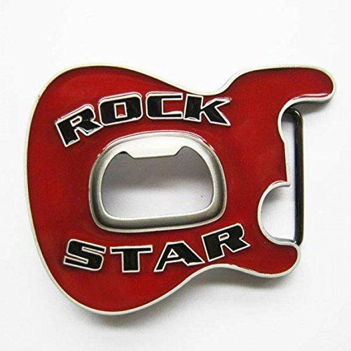 Happy Star® Rot Rock Star Metall Gürtelschnalle mit Bier Flaschenöffner (Metall-gürtelschnalle Rote)