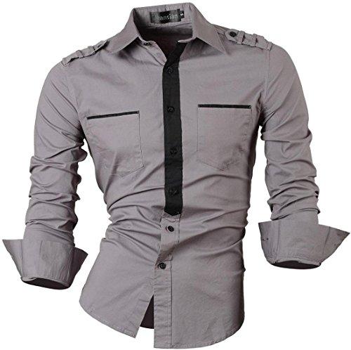 jeansian Herren Freizeit Hemden Shirt Tops Mode Langarmshirts Slim Fit 8371 8328Gray