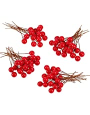 Urvi Creations Pack of 24 Artificial Red Holly Berries for Christmas Tree Ornaments Xmas Tree hangings Ornaments for Christmas Tree Decoration Item Christmas Party Props Favors