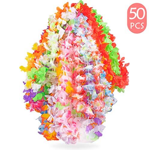 Yidaxing 50 Stück Tropische Hawaii Luau Blume Leis Halsketten Hawaiikette Ideal für Kostüm, Strand Motto Luau Party Dekoration Geschenke, 50 Farben (Luau Motto Party Kostüm)