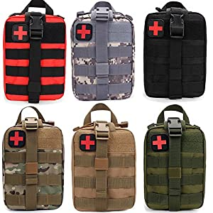 FIRECLUB Compact Tactical Molle Rip-Away EMT Medical First Aid Utility Pouch 1000D Nylon Carlebben for Hiking, Biking, Rock Climbing, Hunting, Sports
