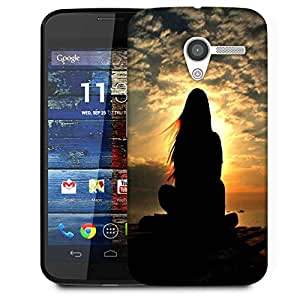 Snoogg Girl Silhouette In The Sunset Light Designer Protective Phone Back Case Cover For Moto X / Motorola X