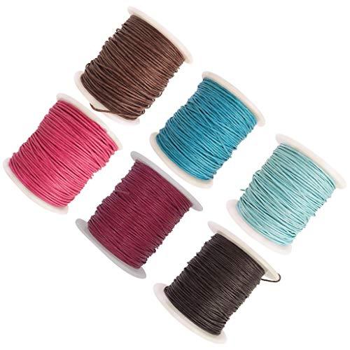 P Prettyia 6 Rollos Hilos de Algodón Encerado Cuerda de Rebordear Cordón Trenzado Colorido Accesorios para Hacer Collar Pulsera DIY - #2