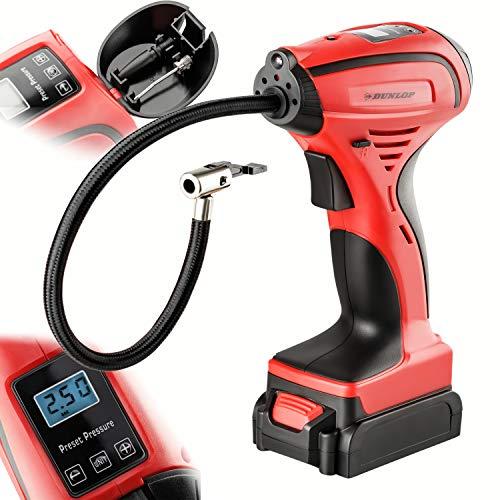 DUNLOP Mini Akku Kompressor 8Bar / 120 PSI   Betrieb über Akku, 12V oder 230V , 12V Anschluss mit 4m Kabel, Digitales Manometer mit Druckvorwahl, perfekt für Auto, Fahrrad, Bälle, Schwimmhilfen