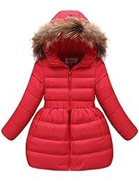 M&A Abrigo Chaqueta Nieve de Invierno de Pluma Con Capucha y Piel Sintética Con Cinturón Elástico Abrigo Nieve Para Niña