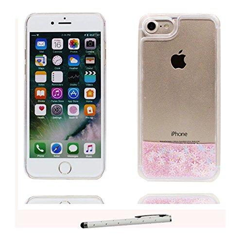 iPhone 7 Custodia, Copertura per iPhone 7, [ Liquido che scorre nuoto divertente Sparkle Bling trasparente protezione completa anti-gra] [ bianca ] Cover iPhone 7 Case & penna di tocco # # 5