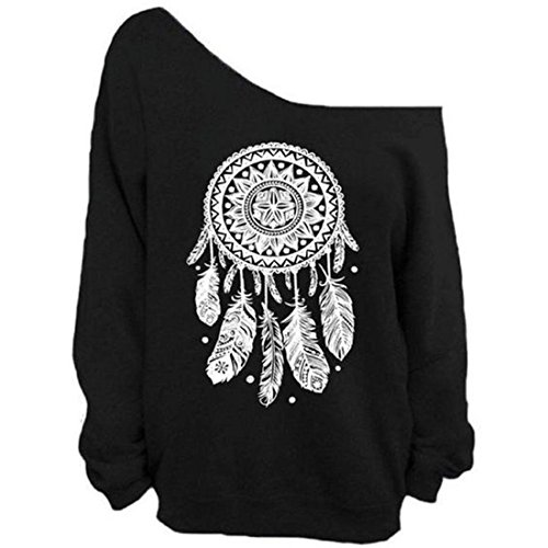 YICHUN Femme Tops T-Shirts Tee-Shirt Epaule Nu Léger Sweat-Shirts Sweaters Pulls Blouse Pull-Overs Jumpers Noir 6#