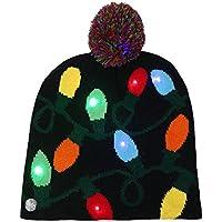 chtdz 1 PC Lavorato a magliaColore di Natale Cappello con luci a LED  Tridimensionale Santa Hat 30a98ee4b5d2