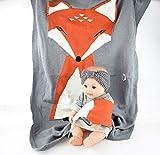 QETU Neugeborenen Fox Swaddling Cartoon Baby Kuscheldecke Weiche Decke Baby Kleinkind Bettwäsche Gestrickte Kinder Mädchen Decke (0-6 Alter Baby Durch),Mediumgray
