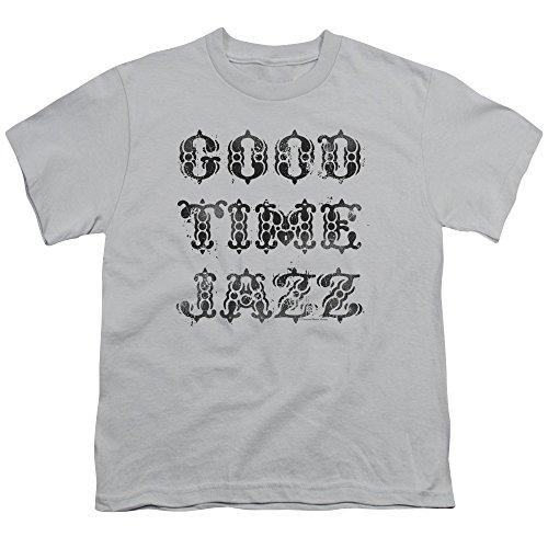 2Bhip Gute zeit jazz vintage logo groß T-shirt für Herren Medium (Jugend) Silber (T-shirt Zeit Jugend)