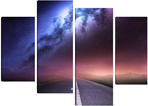 milky-way-galaxy-from-earth-canvas-art-4-split-panel-design-71cm-x-101cm-free-hanging-kit-included