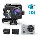 Action Cam, WiMiUS Action Camera 4K 16MP 40M Unterwasserkamera Wifi 1080P Actioncam mit 2 Akkus (Q6 Silber)