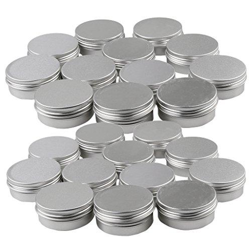 MagiDeal Vide Boîtes Rondes en Aluminium de 24pcs 15 / 10g pour Stockage de Poudres Cosmétique / Baume à Lèvre / Pommade Médicale