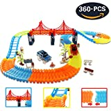 HQQNUO 360 Pezzi Pista di Auto Giocattolo di Ferrovia Pista Costruzioni 2 Pista da Corsa Auto flessibile Tracks Car Toys per Bambini da 3 4 5 6 7