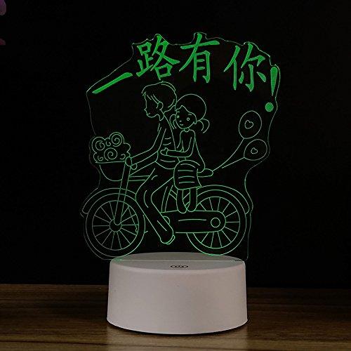 Powzz ornament 3D Lámpara De Noche Led Creative 3-D Nightlight Birthday  Gift Lámpara Led De Tipo Táctil Alimentada por USB, Touch Colorful USB Call