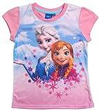 Disney Frozen Die Eiskönigin Mädchen T-Shirt (110, Rosa)