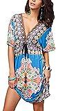 JastoreFloral Tief V-Ausschnitt Boho Damen Strandponcho Sommer Kleid Überwurf Kaftan Strandkleid Bikini Tunika Cover up (Blau) (M, Blau)