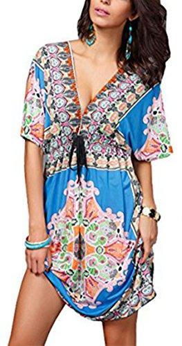 Jastore®Floral tief V-Ausschnitt boho Damen Strandponcho Sommer Kleid Überwurf Kaftan Strandkleid Bikini Tunika Cover Up (Blau) (XXL, Blau) (Bademode Cover-up)