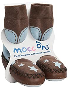 Mocc Ons Cute Moccasin Style Slipper Socks, Cowboy - 24-36 Months