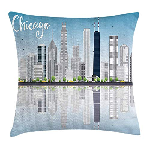 ZTLKFL Chicago Skyline Throw Pillow Cushion Cover, Skyscrapers Lake Michigan Illinois Classic American Scenery Street, Decorative Square Accent Pillow Case, 18 X 18 inches, Baby Blue Pale Grey Illinois Home Jersey