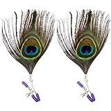 BESTOYARD Pinces à seins avec jouets érotiques stimulateur mamelon plume de paon pour les femmes (Couleur aléatoire)