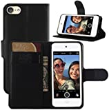 iPod Touch 5th / 6th Gen Case, iPod Touch 5 / 6 Case, HualuBro [All Around Protection] PU Leather Wallet Flip Phone Protective Case Cover for Apple iPod Touch 5th / 6th Generation (Black)