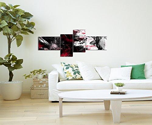4 teiliges Wandbild (abstrakt_grunge_4teilig-55x155cm) Bild auf Leinwand und Keilrahmen, der aktuelle Deko Trend 2013! Modern Art Pics in hoher Qualität als original Kunstdruck – Picture Style Motiv (Abstrakt schwarz rot weiss) Foto als Bild. Ein Blickfang der neuen Generation für Jung & Alt.