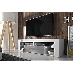 Selsey Hugo - Meuble TV (140 cm, Blanc Mat / Fronts Gris Brillant avec l'éclairage LED)