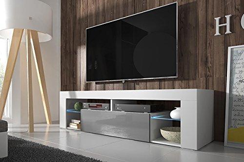 Lili Design - Hestia - Meuble TV (140 cm, Blanc Mat / Fronts Gris Brillant avec l'éclairage LED)