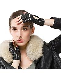 Nappaglo Women 's CLASSIC medio dedo de cuero de piel de cordero conduccion guantes fingerless guantes de fitness al aire libre sin forro