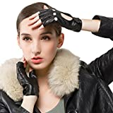 Nappaglo Damen klassisch Halbfinger Lederhandschuhe für fahren Fingerlose Lammfell Fitness Outdoor ungefüttert Handschuhe