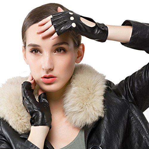 Nappaglo Damen klassisch Halbfinger Lederhandschuhe für fahren Fingerlose Lammfell Fitness Outdoor ungefüttert Handschuhe (S (Umfang der Handfläche:16.5-17.8cm), Schwarz) Schwarzen Handschuhen