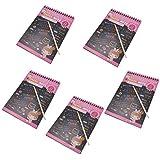 Baoblaze 5 Pieces Rainbow Scratch Pad Kawaii Children's Craft Scratch Book DIY Sketchbooks for Fun - Pink