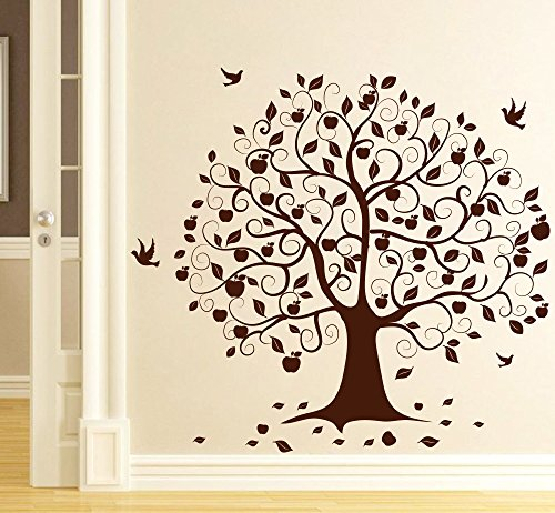 DECOR Kafe Decal Style Birds on Tree Wall Sticker Wall Poster (PVC Vinyl, 99 X 91 cm)