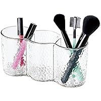 mDesign Tazza Trio Organizzatore Cosmetici da Armadietto per Tenere Trucco, Spazzole, Prodotti di Bellezza - Trasparente