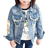 Chaqueta Vaquera Para Niñas Vaquera Jacket De Mezclilla Denim Jackets Manga Larga Outwear Azul 160