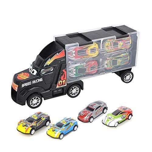 AOLVO Camion Bisarca Giocattolo Camion Trasportatore Cars Camion Container Macchinine Portatile con 4 Mini Veicoli Regalo per Bambini - Nero