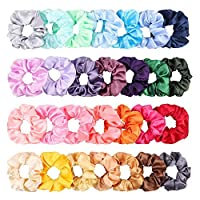 WATINC 28Pcs Silk Satin Hair Scrunchies Set Strong Elastic Hair Bobbles for Ponytail Holder, Colorful Hair Accessories Ropes Scrunchie, Solid Color Traceless Hair Ties