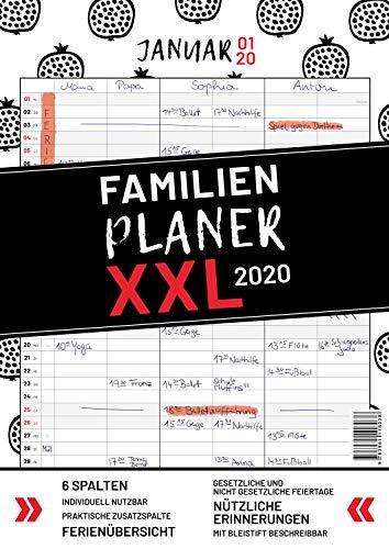 XXL Familienplaner 2020 zum Aufhängen in DIN A3. Hochwertiger und übersichtlicher Familienkalender 2020 mit 3 bis 6 Spalten, plus einer Zusatzspalte. ... Feiertage, Ferien und Zusatzinfos.