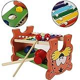 Flabor Hammerbank mit Musiktaste und Süßer Tigermuster Kopf- und Hämmerspielzeug Xylophon und Hammerspiel aus Holz für Kinder