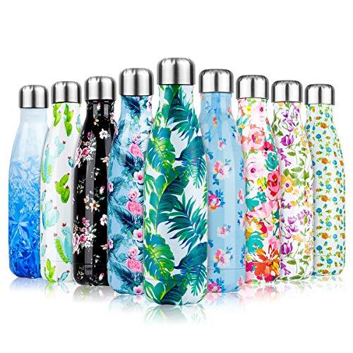 lalafancy 500ml Edelstahl Trinkflasche Vakuum Wasserflasche, Isolierflasche Auslaufsichere 24 Std. Kalt und 12 Std. Heiß für Sport, Laufen, Fahrrad, Yoga, Wandern und Camping