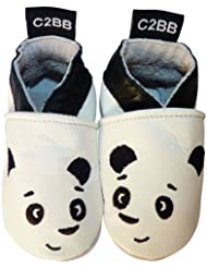 C2BB - Chaussons bebe cuir souple garçon   Panda blanc