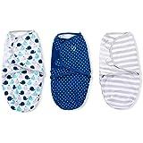 SwaddleMe Original para bebé (Tamaño pequeño), color azul/gris estrellas y rayas, 3unidades), diseño de ballena